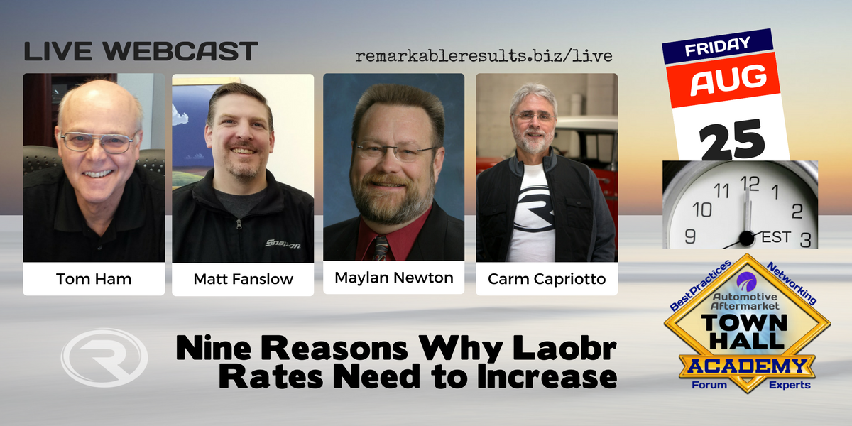 Town Hall- Nine Reasons Why Labor Rates need to Increase